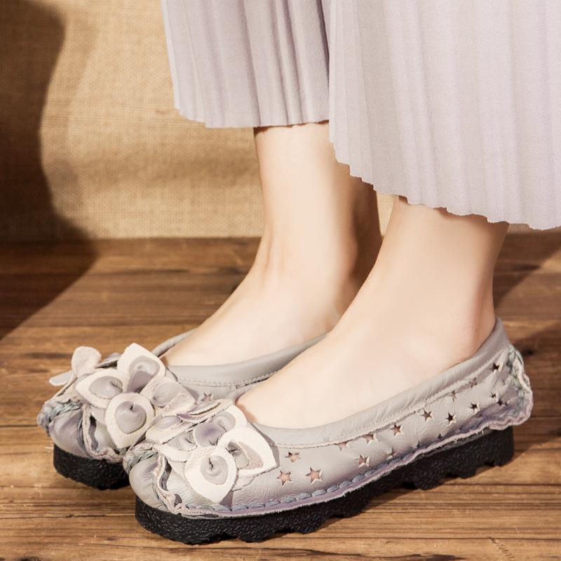 春夏妈妈鞋凉鞋真皮中年女鞋软底平跟平底洞洞鞋镂空透气包头凉鞋