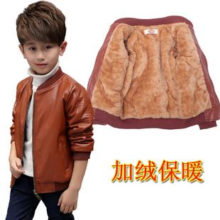 男童皮衣外套3周岁5儿童7秋冬9皮夹克12加绒卫衣15中大童加厚上衣
