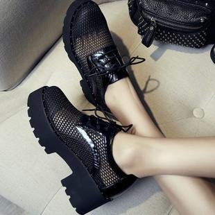 镂空网纱单鞋女厚底松糕鞋系带粗跟韩版透气高跟夏季休闲工作女鞋