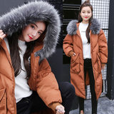 Raccoon winter cotton 袄 female 2018 new pregnant women Korean version of the self-cultivation in the long section of cotton padded winter cotton coat