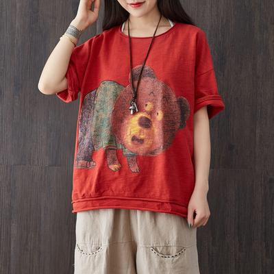 滿衣大碼女裝2018夏裝寬松文藝卡通印小熊卷邊五分袖T恤女上衣66大促
