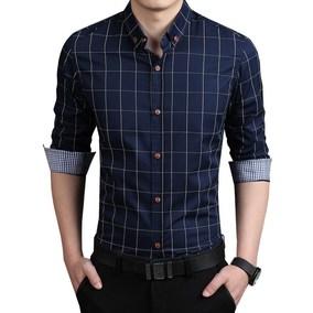 格纹衬衫men long sleeve cotton shirt mens dress plaid shirts