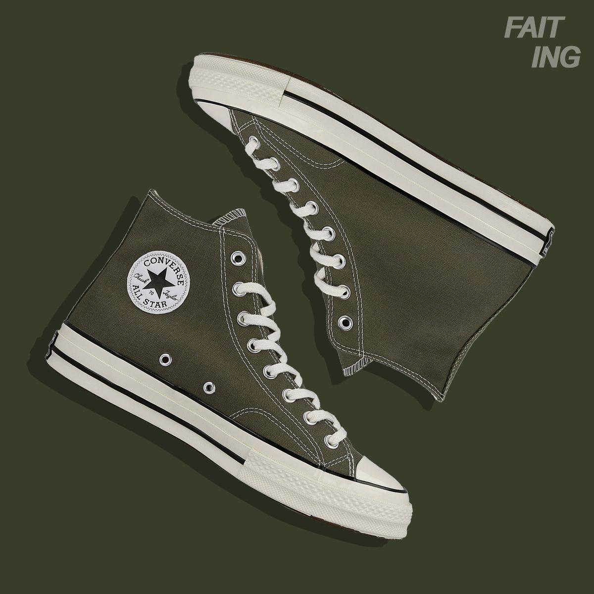 匡威CONVERSE 1970S三星标军绿色高帮新款男女帆布硫化鞋 162052C