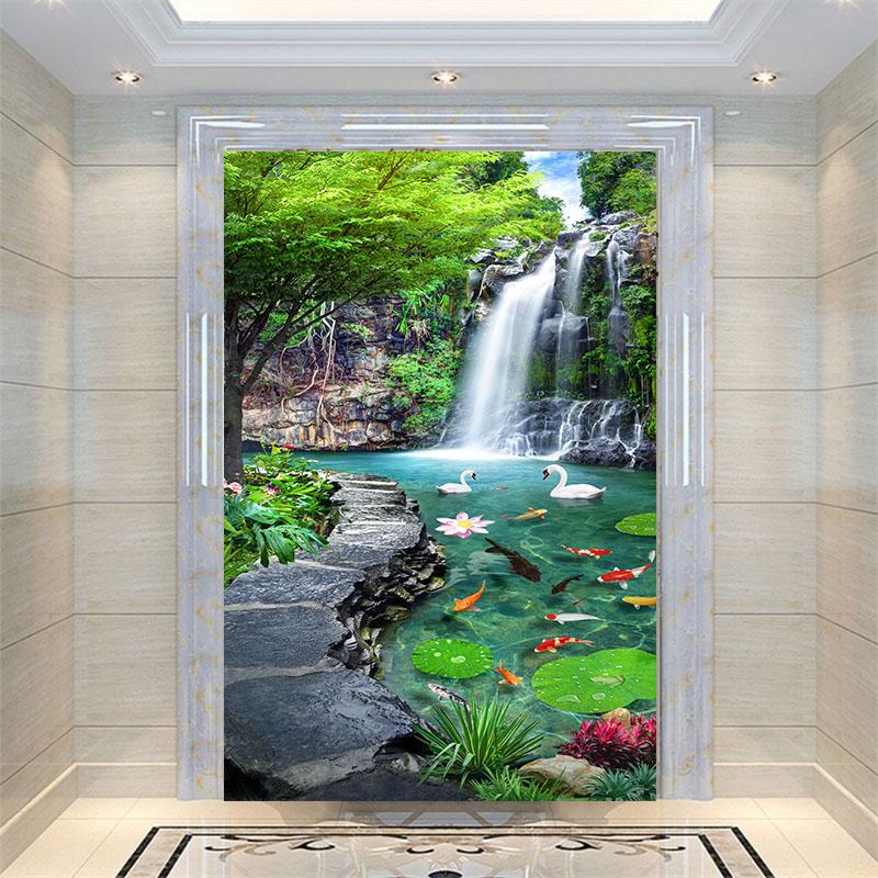 3d立体玄关 竖版过道走廊背景墙壁纸 无缝风景墙纸山水瀑布壁画