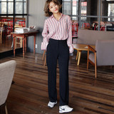 Summer thin Song Hui-Jo star with sun descendant son black high waist slim leg pants straight pants