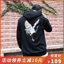 Embroidered Sanitary Clothes Men Spring and Autumn 2019 Chinese Wind Crane Pullovers with Loose Hats Men Chao Brand ins Cotton Pullovers