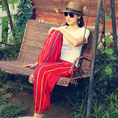 条纹休闲裤女 尼泊尔宽松大码瑜伽裤彩色女裤长裤子 民族风灯笼裤