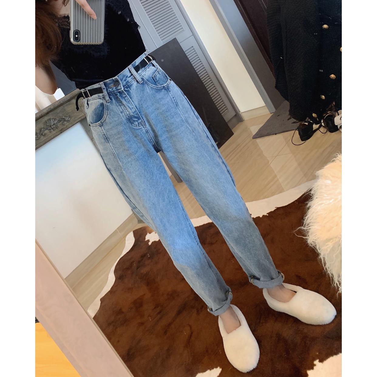 2019春夏新款个性装饰腰带韩版高腰水洗牛仔裤直筒阔腿显瘦女包邮图片