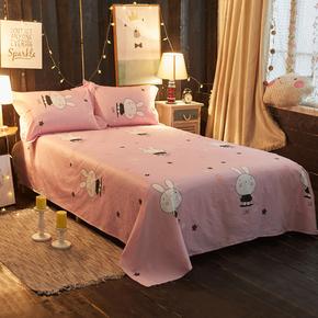 夏季时尚可爱卡通全棉床单单件单人双人粉色纯棉被单大小单品1.8m