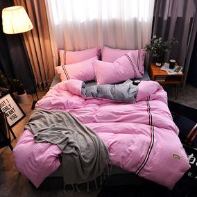 唯娜水洗棉+法莱绒床上四件套床单被套1.8米