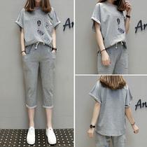 大码女装春夏装新款洋气胖妹妹套装减龄显瘦T恤七分裤显瘦两件套