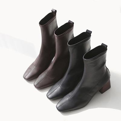 复古方头短靴女粗跟小中筒弹力靴子袜子靴鞋加绒秋冬季ins马丁靴
