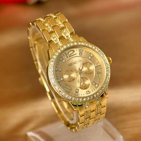 韩版水钻玫瑰金色满钻土豪金钢带男士女个性潮流大气手链复古手表