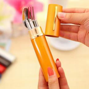 学生便携式不锈钢折叠筷子勺子叉子套装旅行汤勺三件套可伸缩餐具
