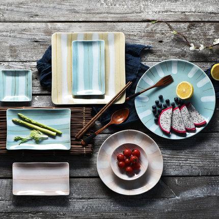 简约方形创意平盘意面盘日韩式餐具陶瓷西餐盘碟家用菜盘子牛排盘