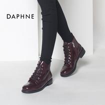 1515605019达芙妮马丁靴内赠高拼色休闲女短靴Daphne