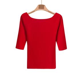 秋季五分袖红色冰丝针织衫女短款修身紧身半袖薄打底衫一字领上衣