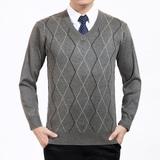 中老年男士羊毛衫中年男装休闲鸡心领毛衣冬季爸爸装父亲针织线衫