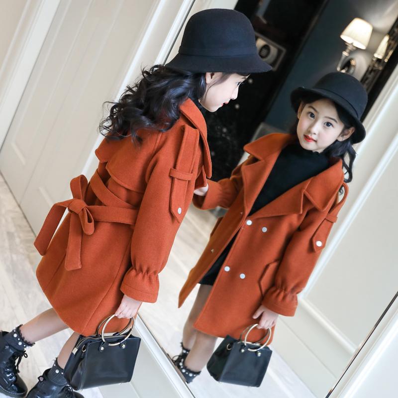 童装2018新款冬装女童毛呢外套中大童韩版加厚中长款羊毛呢子大衣
