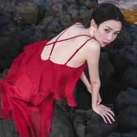 2018新款红色海边度假三亚巴厘岛沙滩裙性感露背吊带连衣裙长裙夏