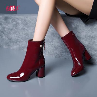 粗跟短靴女英伦真皮高跟单靴子春秋马丁靴圆头百搭时尚漆皮女靴冬