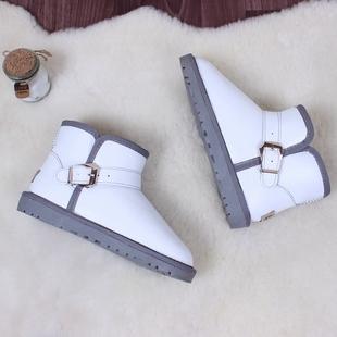 天天特价冬季皮面防水牛皮雪地靴女短靴白色防滑面包鞋加厚棉鞋女