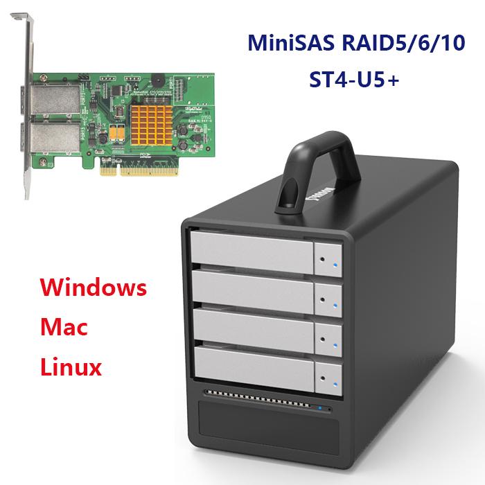 Stardom ST4-U5+ 4盘位miniSAS磁盘阵列柜支持RAID0/5/10,PC台式机工作站黑苹果Mac OS视频后期编辑SAS/SATA