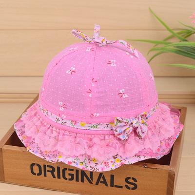 婴幼儿帽子夏季薄款女孩公主帽子防晒帽宝宝蕾丝盆帽透气遮阳帽潮