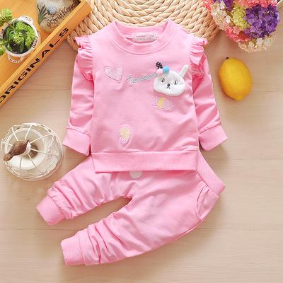 女寶寶秋裝3套裝6-12個月7嬰兒衣服8春季9女童5長袖兩件套0半1歲2