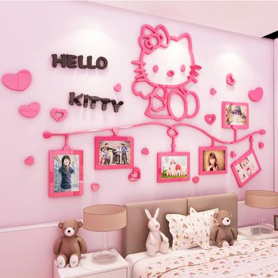 hellokitty猫3d立体墙贴女孩卧室床头墙上贴画儿童房墙壁装饰贴纸品牌旗舰店