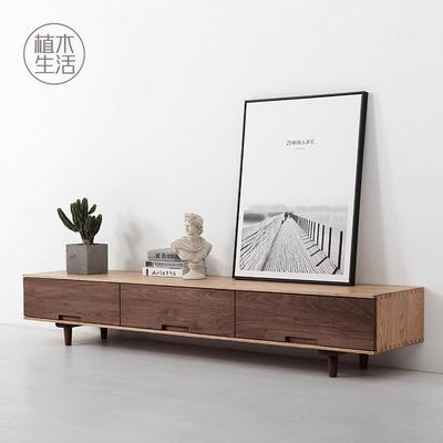 [植木生活] 黑胡桃全实木电视机柜原木家具北欧简约视听柜电视柜