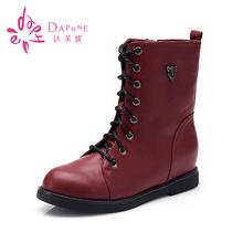Daphne/达芙妮正品秋冬中筒女靴时尚中跟系带朋克风马丁靴女图片
