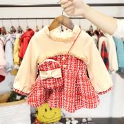 2-5岁女宝宝加绒加厚连衣裙女童秋冬装韩版粗花呢4女婴儿洋气裙子