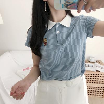 Miss木子家。包邮~软萌少女系 减龄学院风POLO领小熊维尼条纹T恤网友购买经历