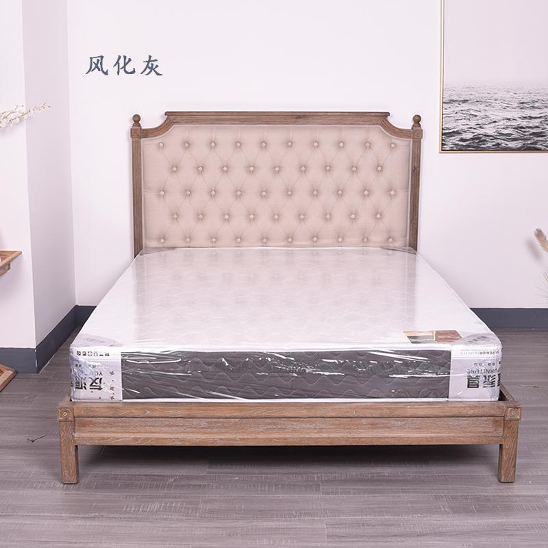 原木布艺床
