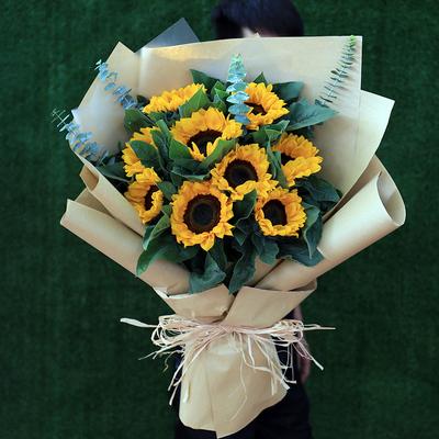 每周新款!9朵向日葵花束花店送花同城速递鲜花北京上海广州杭州