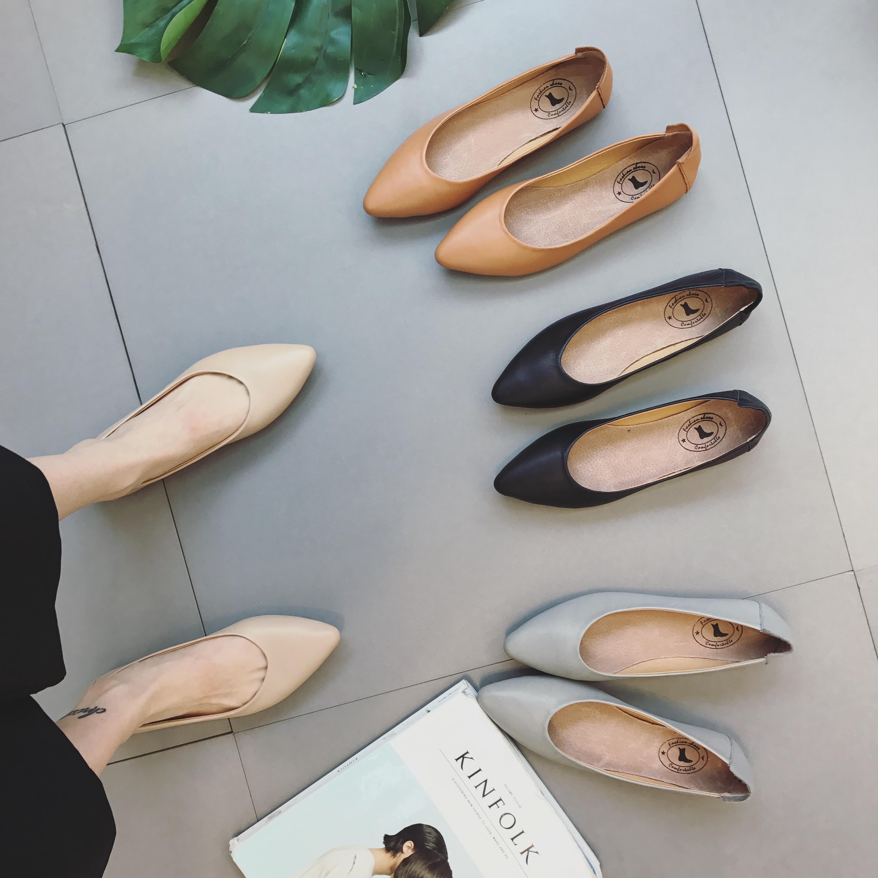 2018春季新款韩版真皮平底奶奶鞋女浅口套脚软底休闲鞋尖头单鞋潮