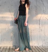 海边度假女条纹侧开叉阔腿裤 美腿诱惑 夏海边度假小背心沙滩裙裤