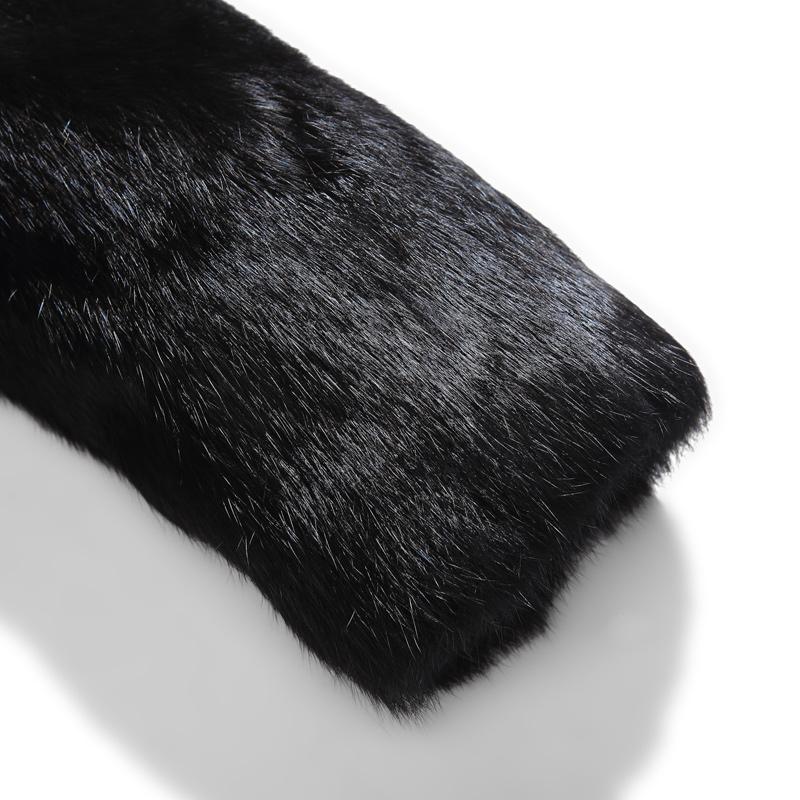 2018年新款中长款真兔毛整皮男士皮毛一体连体帽狐狸毛领皮草外套