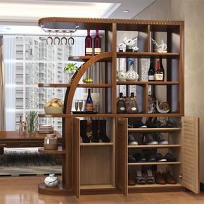 客厅玄关柜进门鞋柜简约双面新中式酒柜实木间厅柜子屏风柜隔断柜