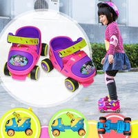 Xuan Ling double row skates children's roller skates 2 baby 4 roller skating 5 four rounds 6 roller skates wheel 3 years old beginners
