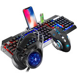 Mechanical feel keyboard and mouse set headset three-piece esports game eat chicken desktop computer notebook wired usb mouse and keyboard set network infrared set home office Internet cafes really new alliance