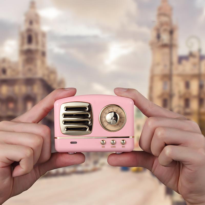 影巨人HM11创意可爱无线蓝牙音箱少女心重低音炮收音机插卡复古迷你小音响手机户外家用电脑便携式影响小钢炮