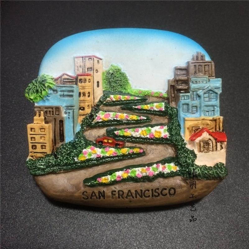 美国旅游纪念品树脂高档冰箱贴磁贴手绘精致旧金山九曲花街精品