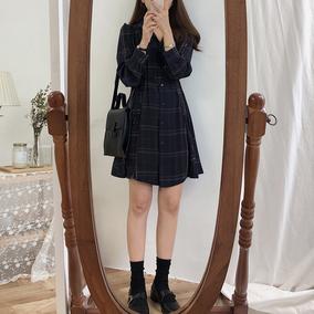 秋装韩版女装气质格纹收腰长袖连衣裙衬衫裙复古显瘦高腰中长裙