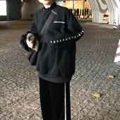 秋冬韩版女装宽松BF风字母印花长袖卫衣气质情侣款套头上衣外套
