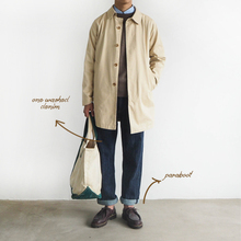 Mac coat single-breasted trench coat in the long khaki dark blue men and women literary Japanese autumn and winter coat