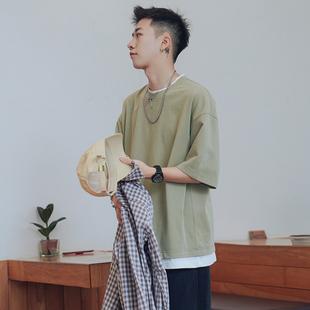 木子小哥 假兩件短袖t恤男潮流夏季寬松半袖港風休閑純色五分袖七