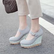 粉色灰色白色女鞋厚底坡跟高跟单鞋扣带大码鞋小码鞋女 33 42 JSL