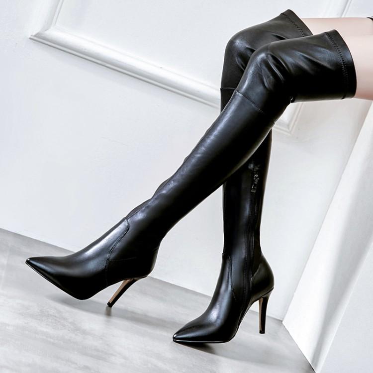 秋冬款女靴尖头鞋细跟高跟单靴过膝长靴弹力靴瘦腿真皮靴子 ARLY
